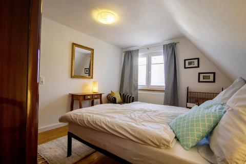 Blick in der Schlafzimmer in der Ferienwohnung Odenwald